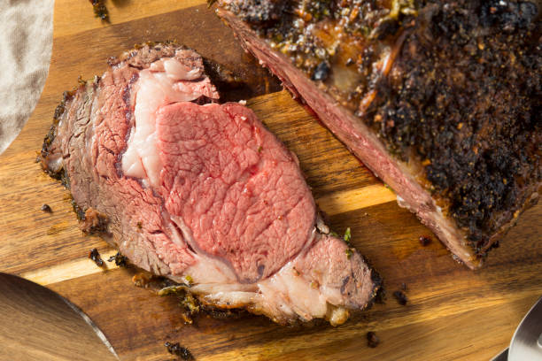 Roasted Boneless Prime Beef Rib Roast Roasted Boneless Prime Beef Rib Roast Ready to Eat roasted prime rib stock pictures, royalty-free photos & images