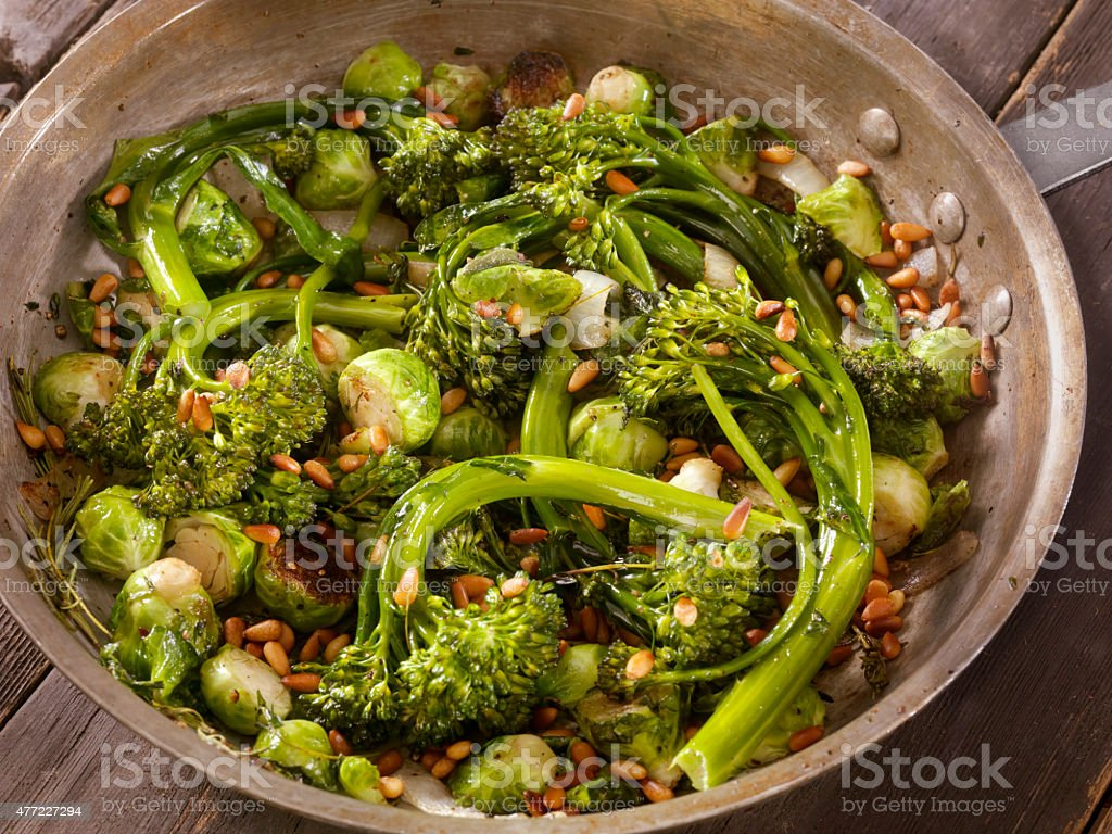 Roasted Broccolini and Brussels sprouts stock photo