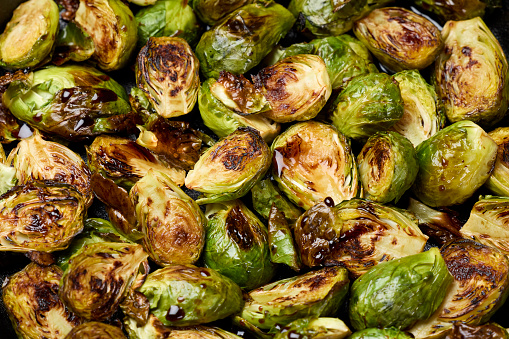 Roasted Brussel sprouts in cast iron pan