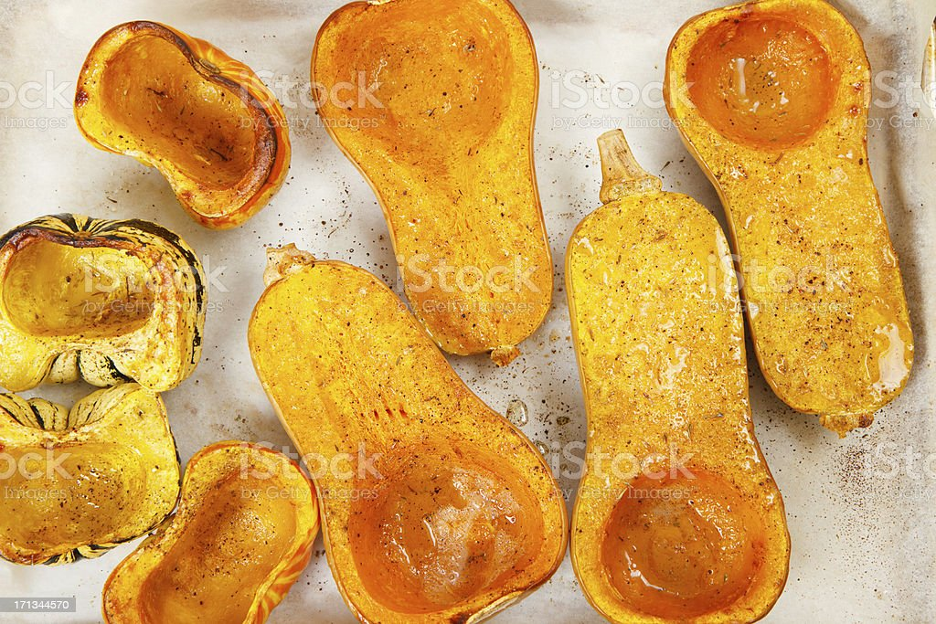 Roasted Butternut Squash On Baking Tray stock photo
