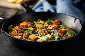 Home made freshness roasted roasted butternut squash with green lentils and rocket leaves,Parmesan cheese