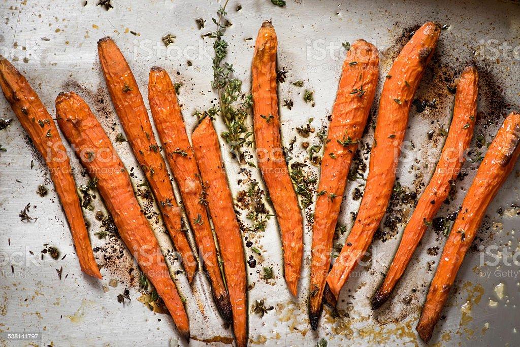 Roasted Carrots on Baking Pan royalty-free stock photo