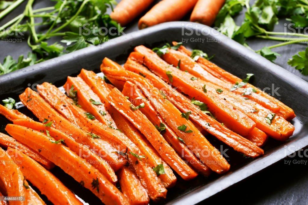 Roasted carrots stock photo