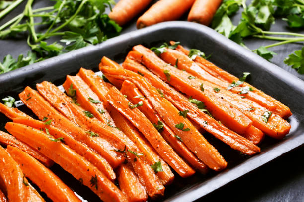 Roasted carrots stock photo