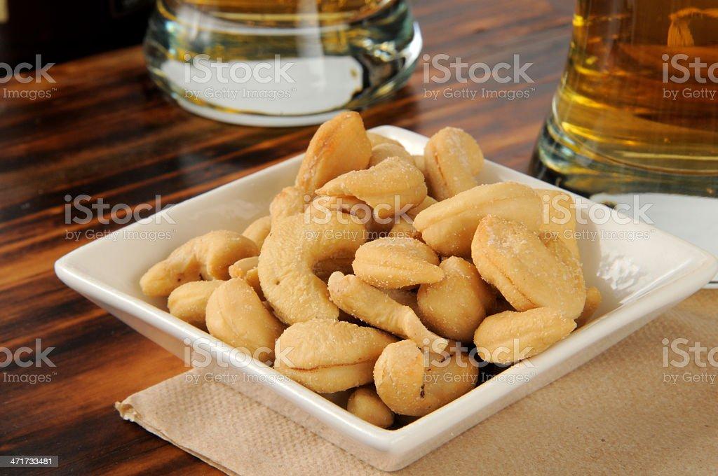 Roasted cashews stock photo