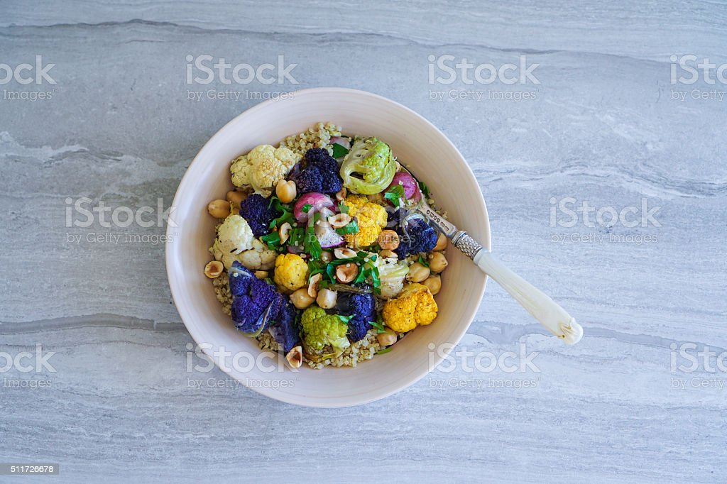 Roasted Cauliflower and Quinoa Salad. stock photo