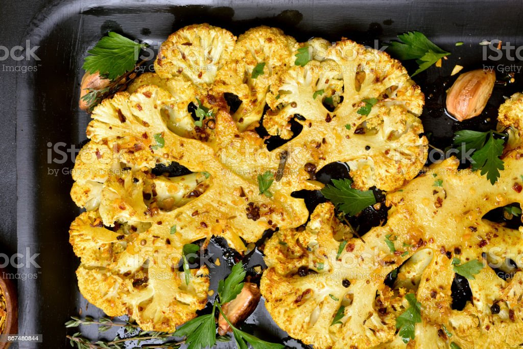 Roasted cauliflower steak stock photo