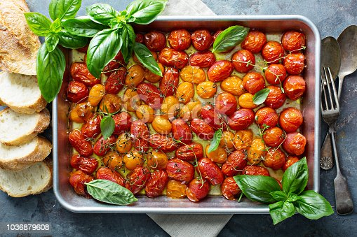 istock Roasted cherry tomatoes with herbs 1036879608