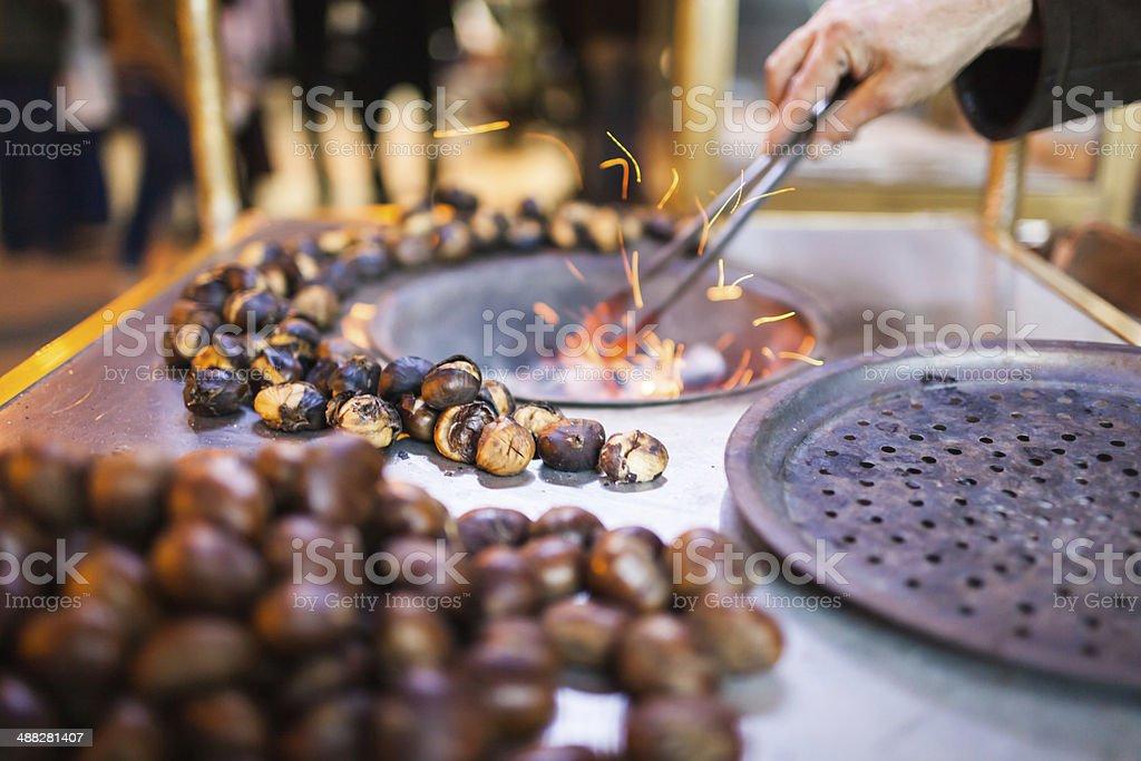 Roasted Chestnut at Street stock photo
