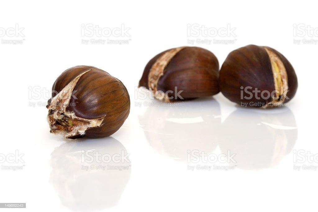 Roasted chestnut stock photo
