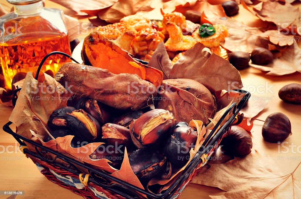 roasted chestnuts and sweet potatoes, and panellets typical of C stock photo