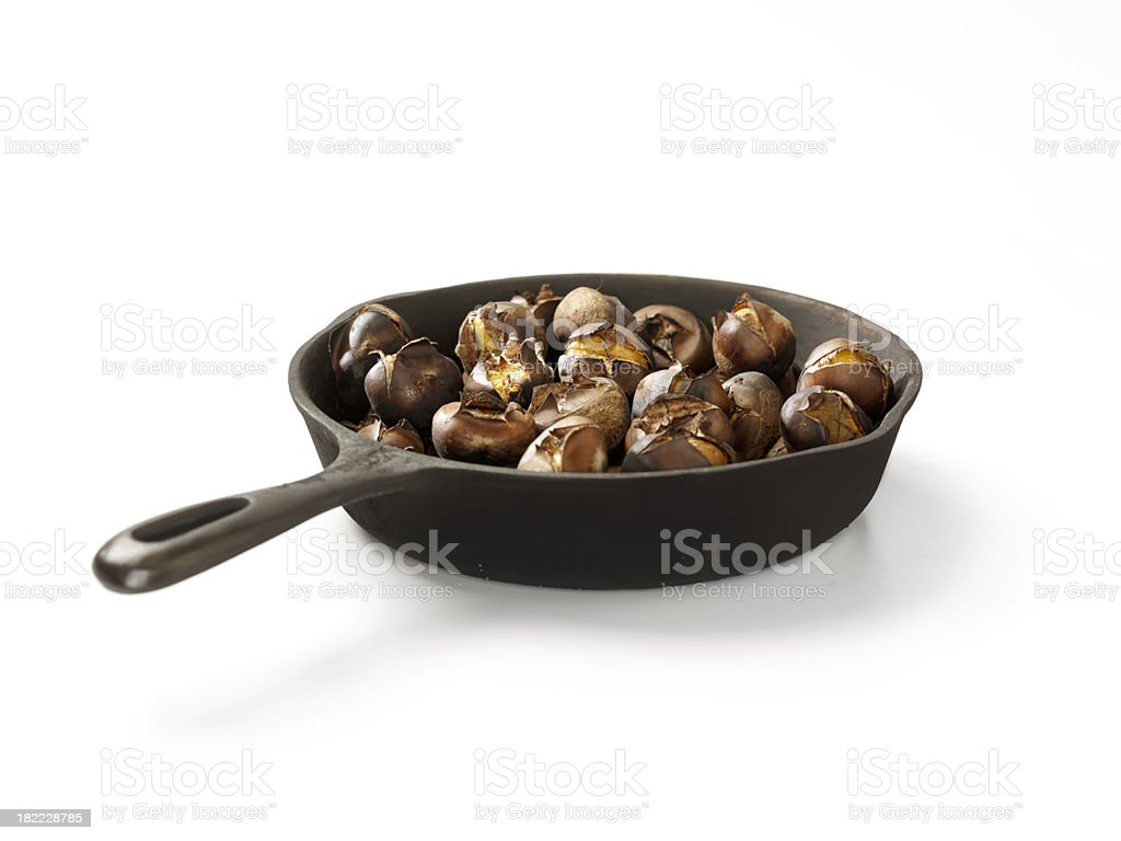 Roasted Chestnuts in a Cast Iron Pan royalty-free stock photo