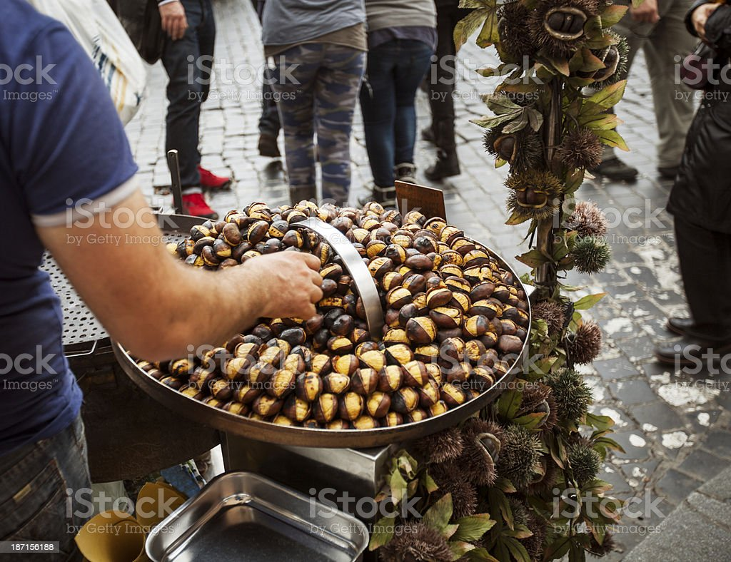 Roasted Chestnuts in the Street of Rome stock photo