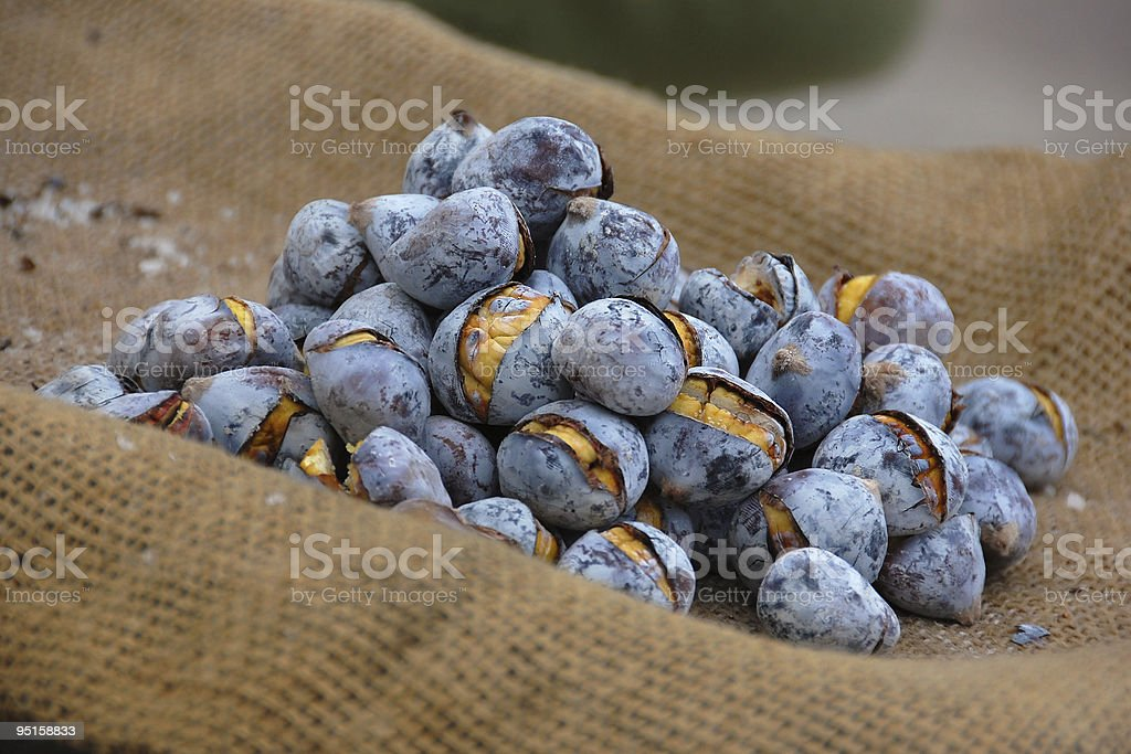 Roasted Chestnuts stock photo