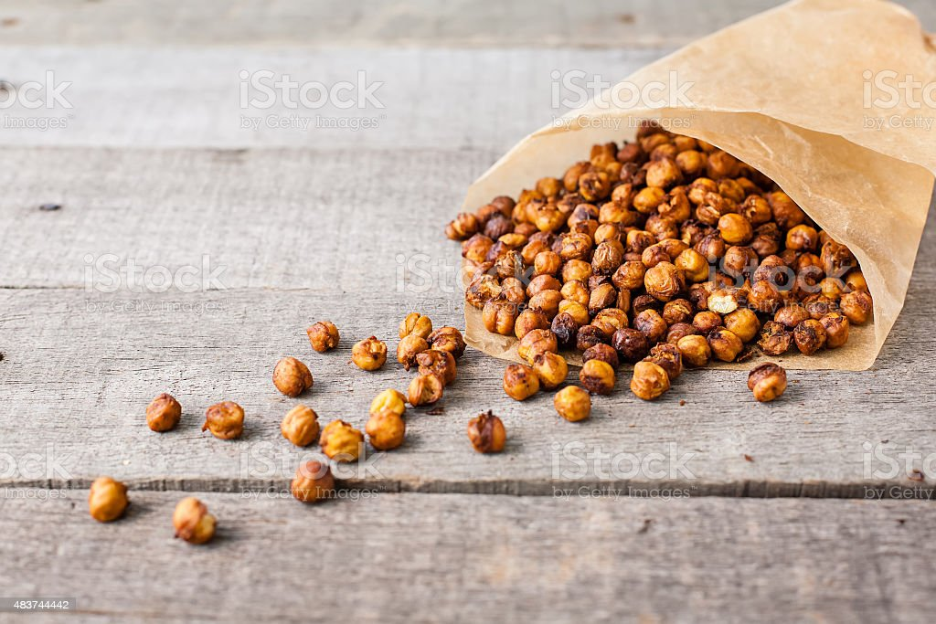 roasted chick peas snack stock photo