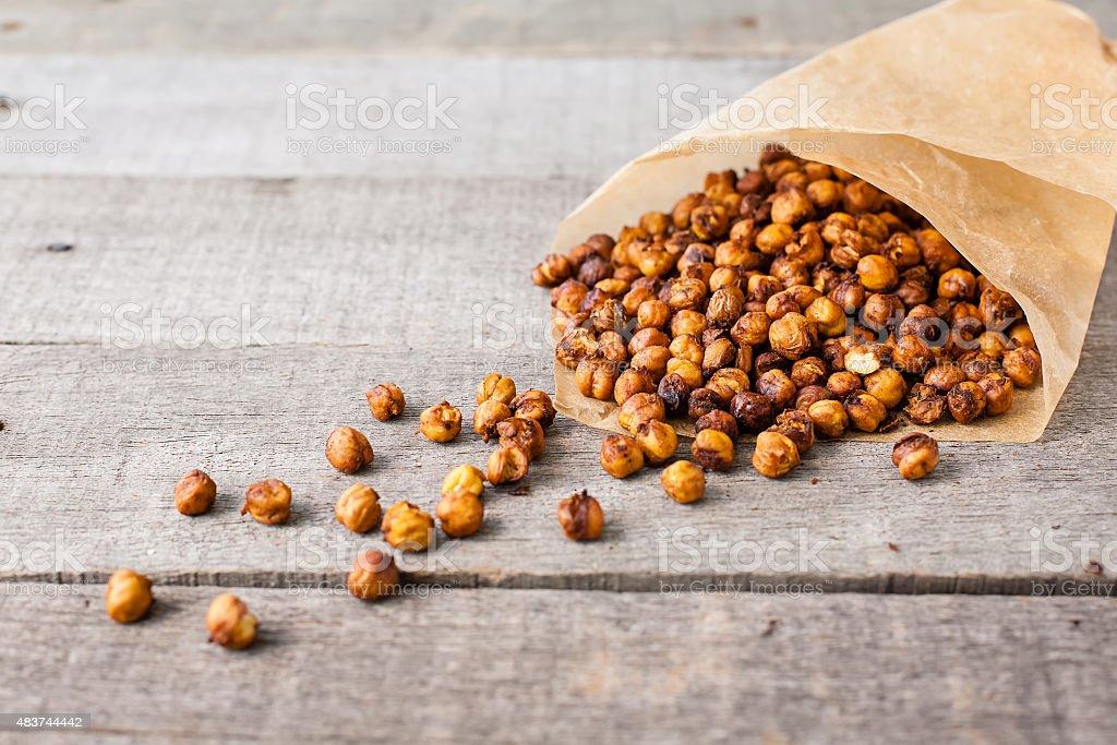 roasted chick peas snack stock photo