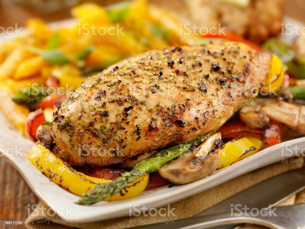 Roasted Chicken and Vegetables royalty-free stock photo