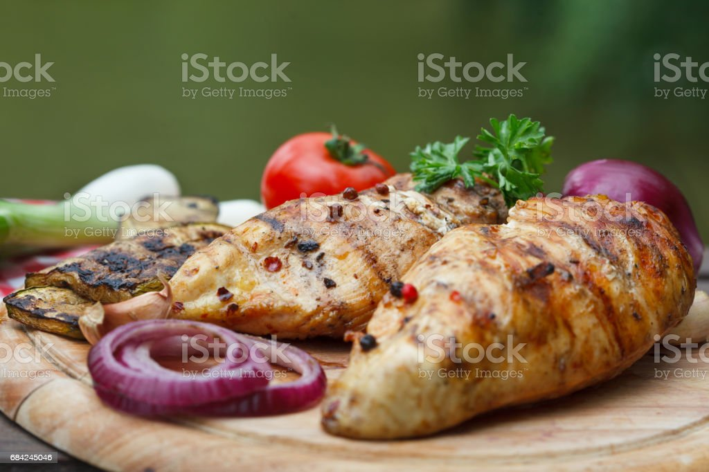 Roasted chicken breast and various vegetables royalty-free stock photo