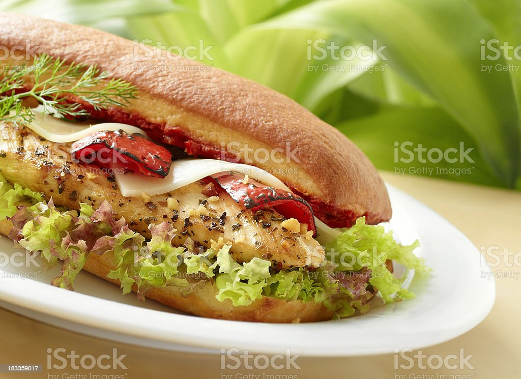 Roasted chicken breast sandwich stock photo
