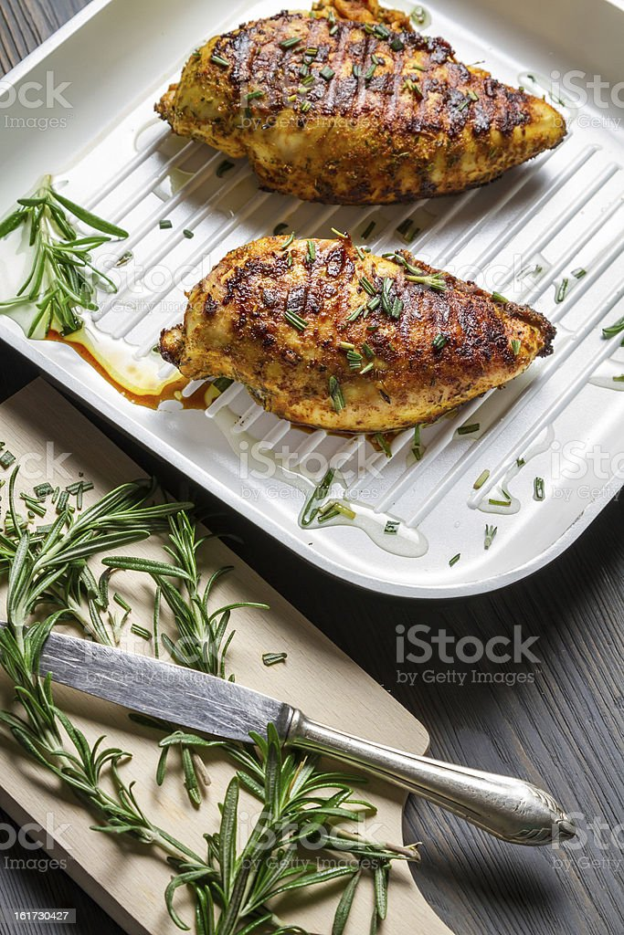 Roasted chicken breast with rosemary royalty-free stock photo