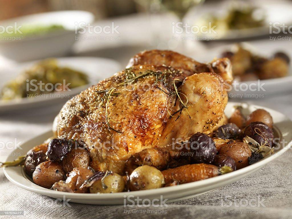 Roasted Chicken Dinner stock photo