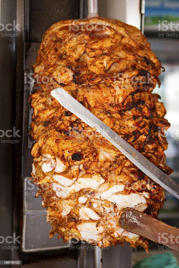 Roasted chicken doner kebab stock photo