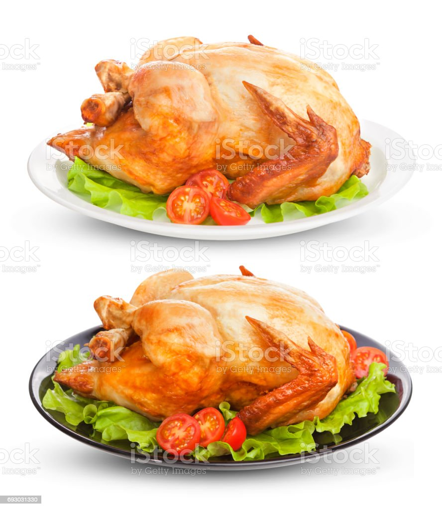 Roasted chicken isolated on white background stock photo