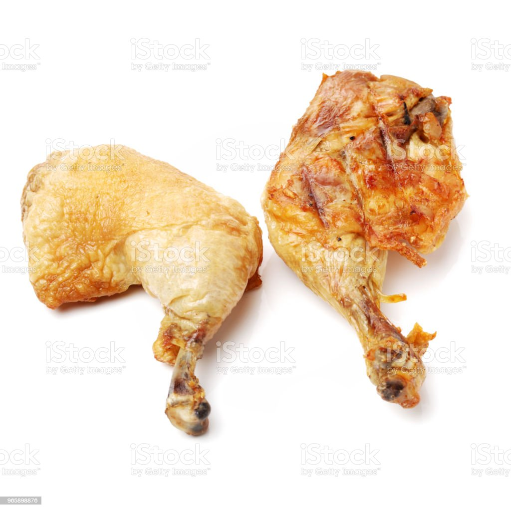 Roasted chicken leg isolated on white background - Royalty-free Animal Body Part Stock Photo