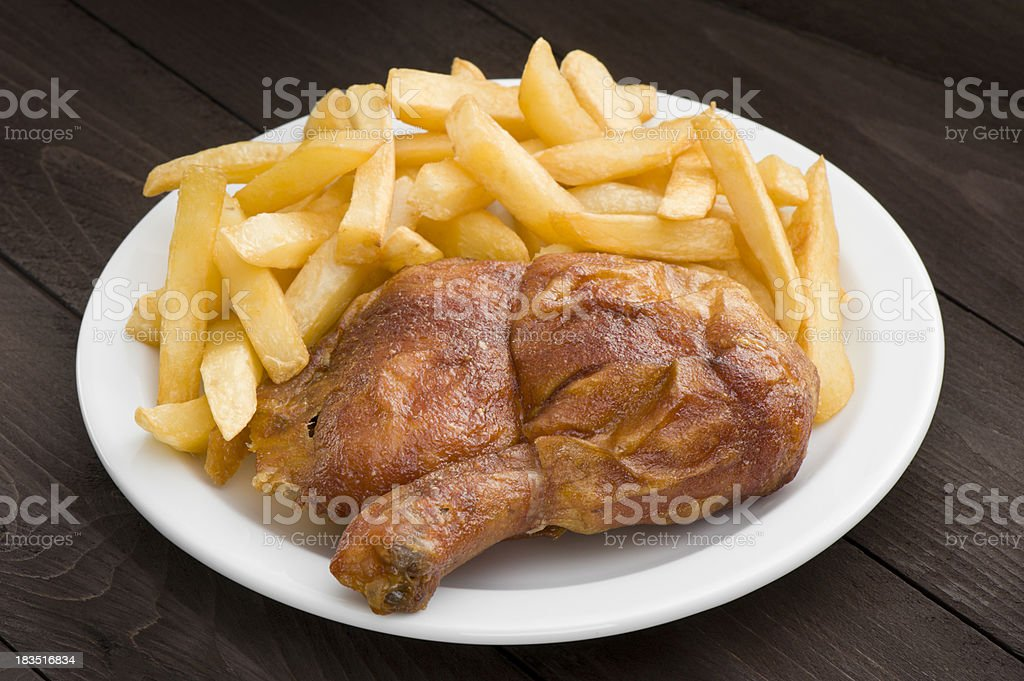 Roasted chicken leg royalty-free stock photo