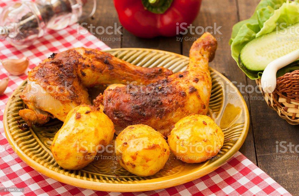 Roasted chicken legs stock photo