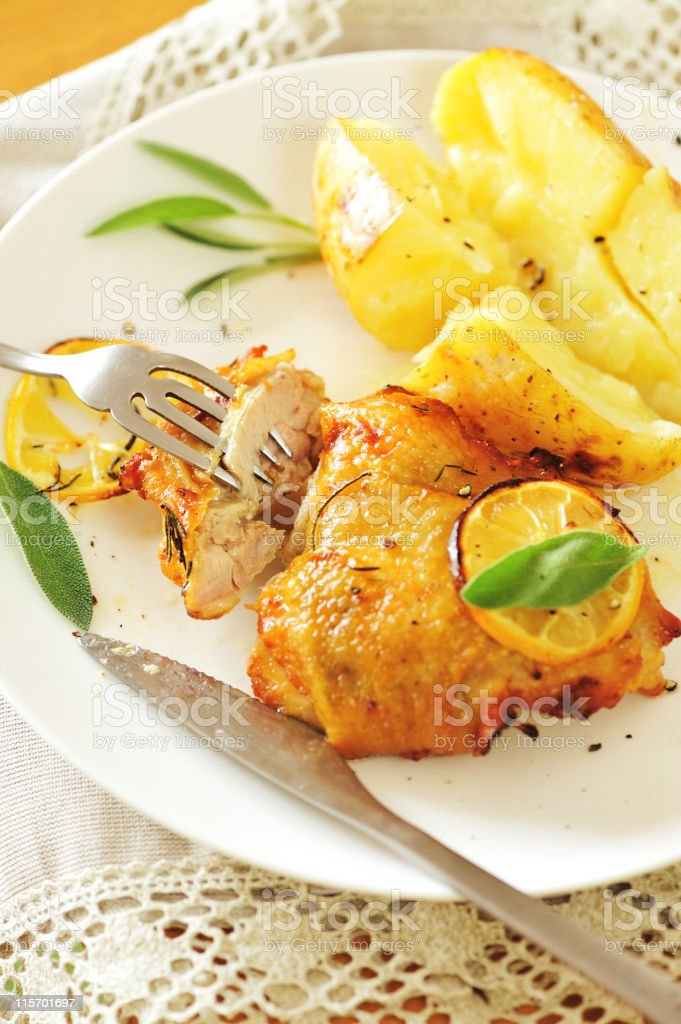 Roasted Chicken Lunch royalty-free stock photo