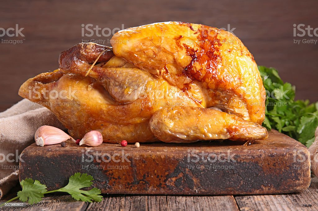 roasted chicken stock photo