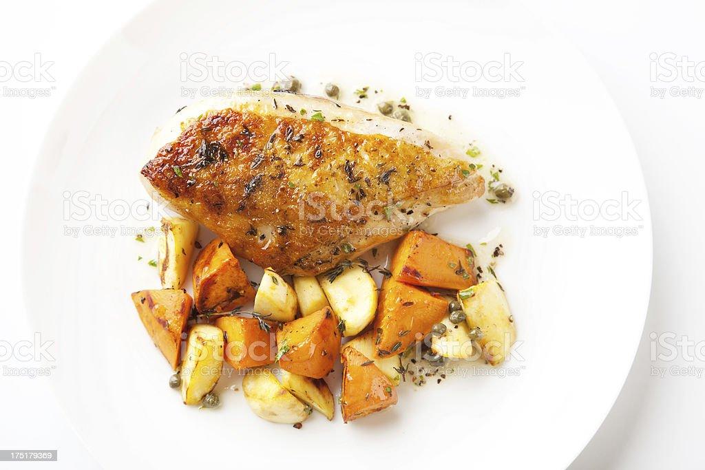 Roasted Chicken & Sweet Potato stock photo