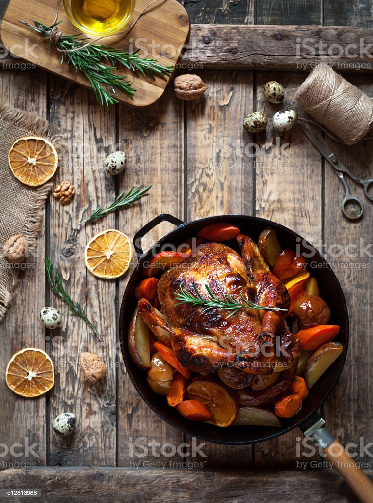 Roasted chicken with crispy brown skin, baked in oven stock photo
