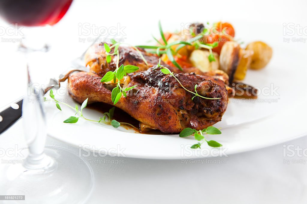 Roasted chicken with herbs royalty-free stock photo