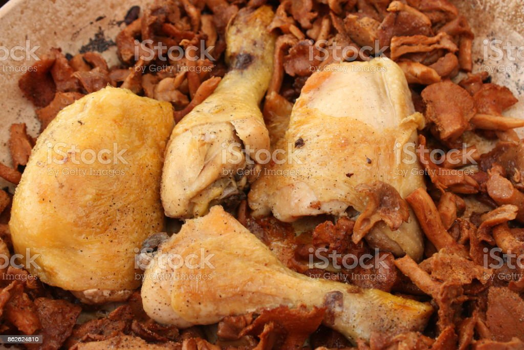 Roasted chicken with mushrooms stock photo