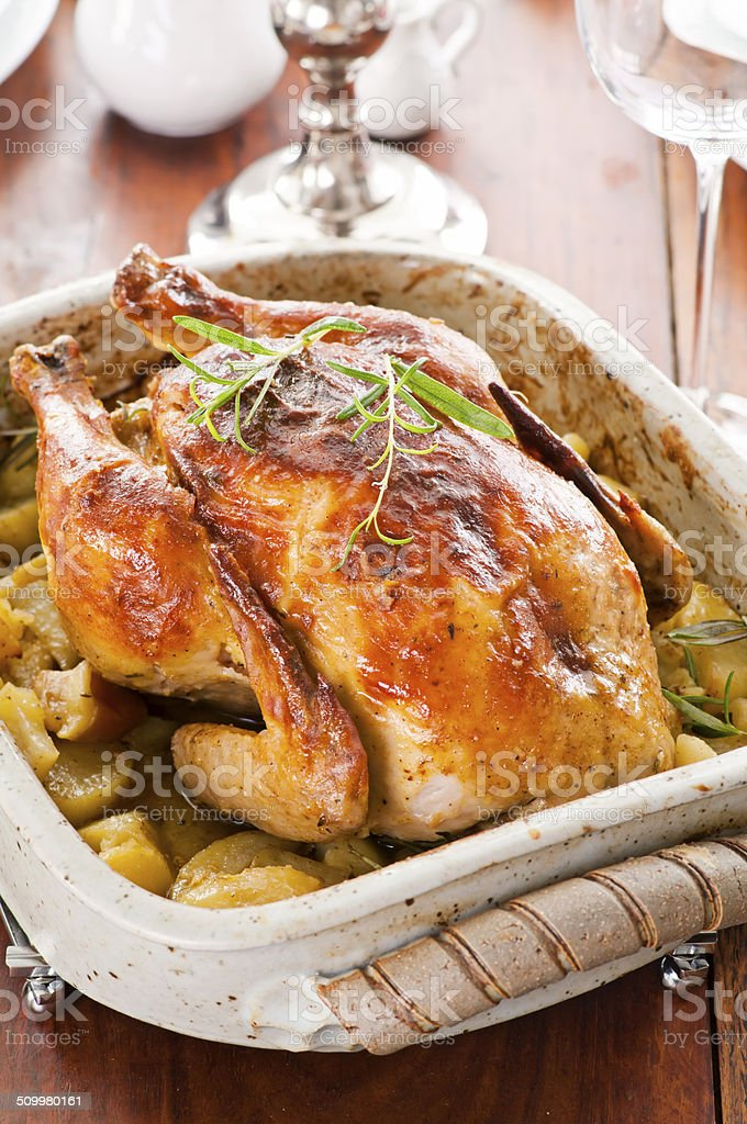Roasted Chicken with Potato stock photo
