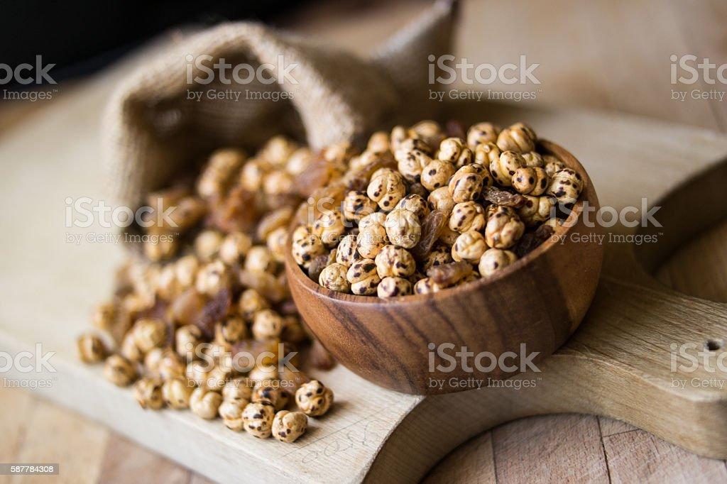 Roasted chickpea and raisins. stock photo