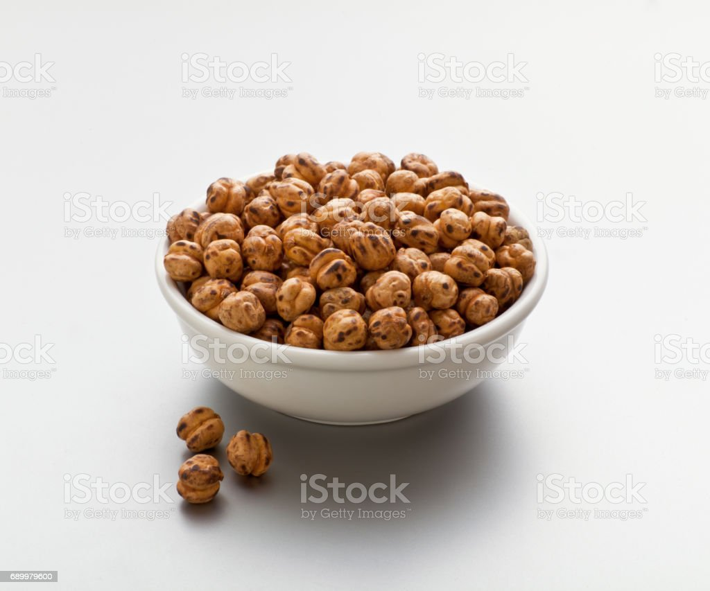 Roasted chickpea in a bowl stock photo