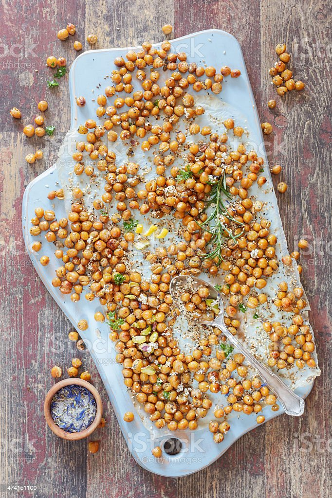 Roasted  chickpeas stock photo