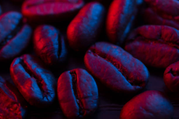 Roasted coffee bean close up