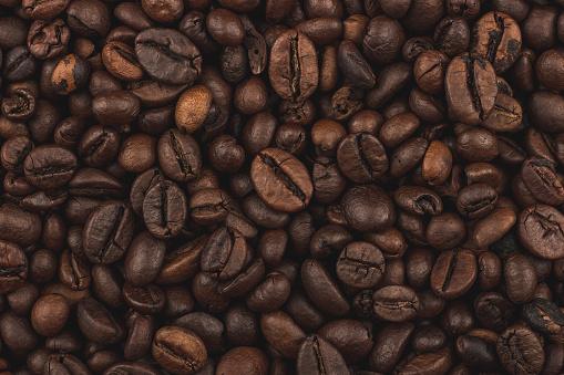 Fresh coffee grains wallpaper. Good morning. Coffee shop.