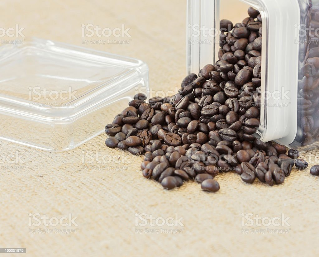 Roasted coffee beans glass recipient royalty-free stock photo