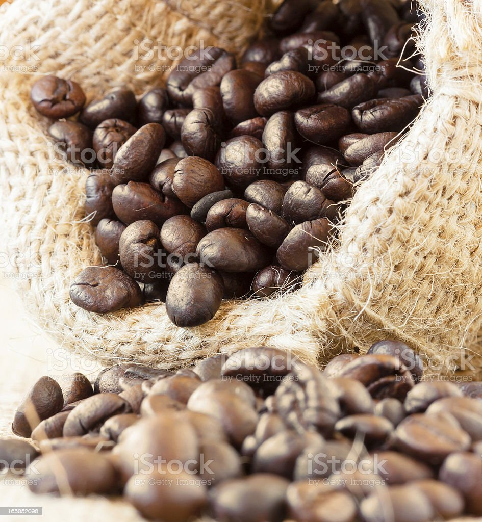 Roasted coffee beans in jute bag royalty-free stock photo
