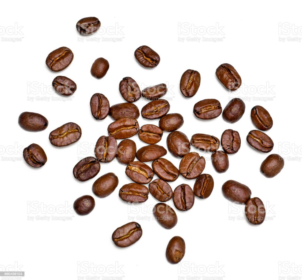 Roasted coffee beans, isolated on white - fotografia de stock