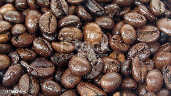 Close up photo of pile of roasted coffee beans. Ideal as a background for your next design project or even as a desktop wallpaper on widescreen computer monitors.