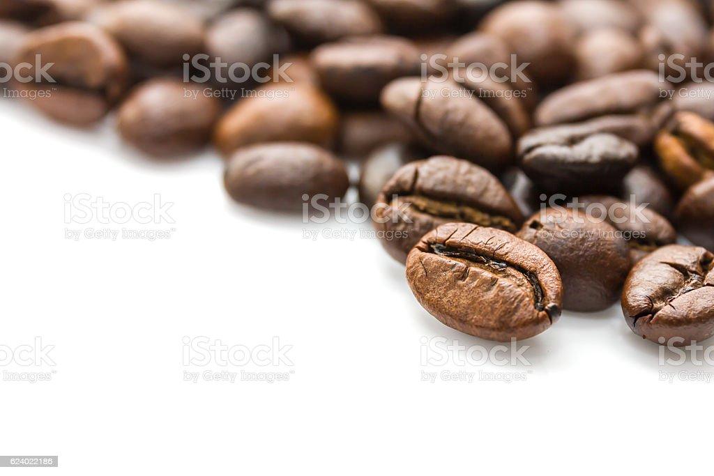 Roasted coffee beans on white stock photo