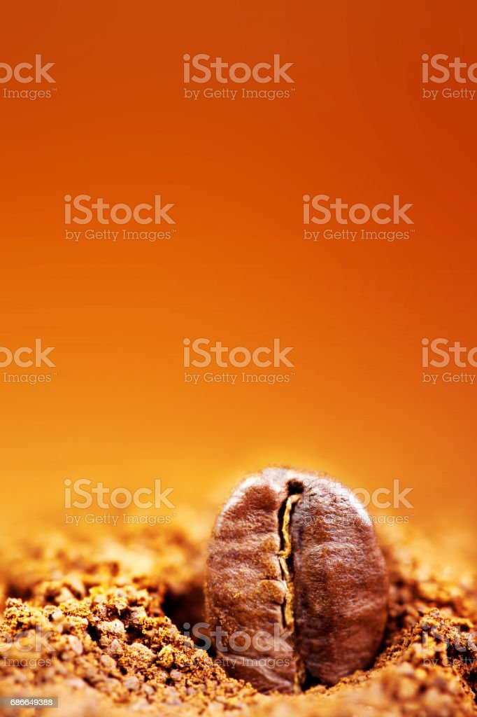 Roasted Coffee Beans with copy space.  Espresso Texture macro royalty-free stock photo