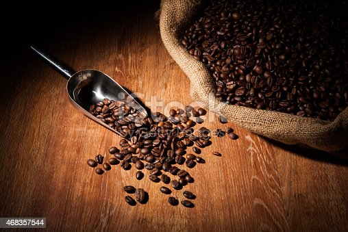 Roasted Coffee Beans With Scoop Stock Photo & More Pictures of 2015