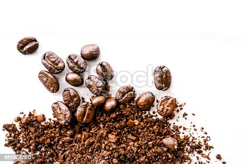 istock Roasted coffee white background - Concept design 885956520